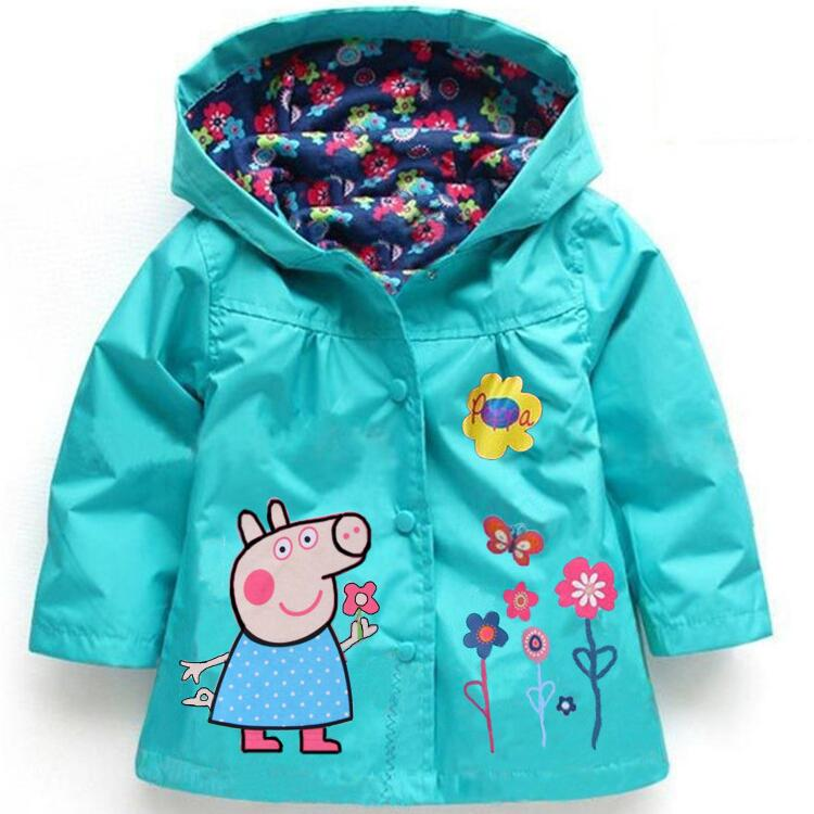 Spring Autumn Baby Girls Hoodies, Toddler Girls Jackets, Cartoon Kids Outerwear, Waterproof Children's Coat Raincoat Windbreaker
