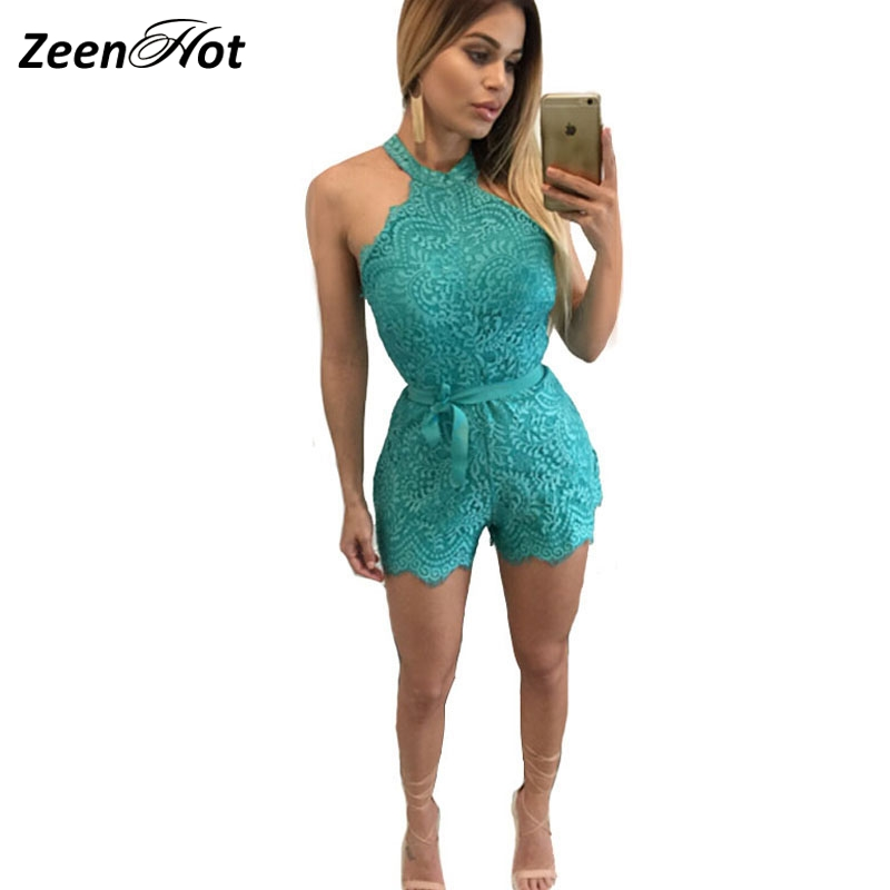 Fashion Women Lace Bodysuit Halter white Jumpsuit One Piece sexy Rompers Elegant Party Short Playsuit Overalls For Women
