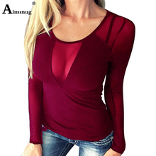 Plus size 4xl 5xl Lace Women Summer Solid Burgundy Wine Red Tops Long Sleeve O-Neck Female T-Shirt Casual Mesh Ladies Tee Shirt