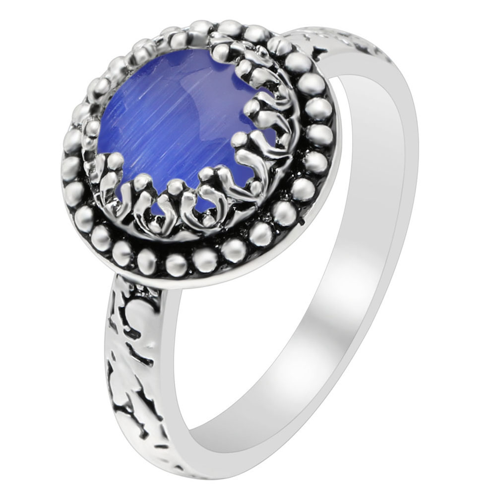 Hainon Antique Silver Color Vintage Rings Blue Round Fire Opal Rings For Women Jewelry Fashion Party Engagement Punk Finger Ring