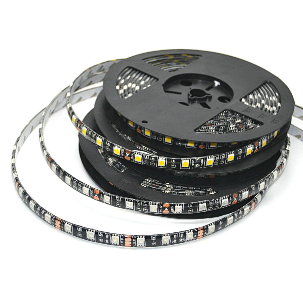 LED Strip 5050 RGB Sort PCB DC12V Fleksibel LED Lys 60 LED / M5050 LED Strip RGB / Hvid / Varm Hvid / Blå / Grøn / Rød