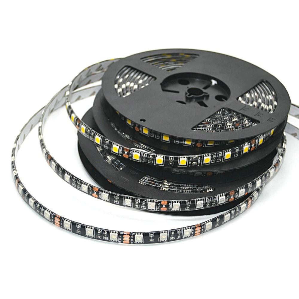 LED Strip 5050 RGB Black PCB DC12V Flexible LED Light 60 LED/m5050 LED Strip RGB/White/Warm White/Blue/Green/Red