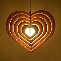 Multiple Heart Wood Pendant Light Fixtures Antique American Vintage Retro Lamp Design Kitchen for Restaurant/Living Room PLL 713