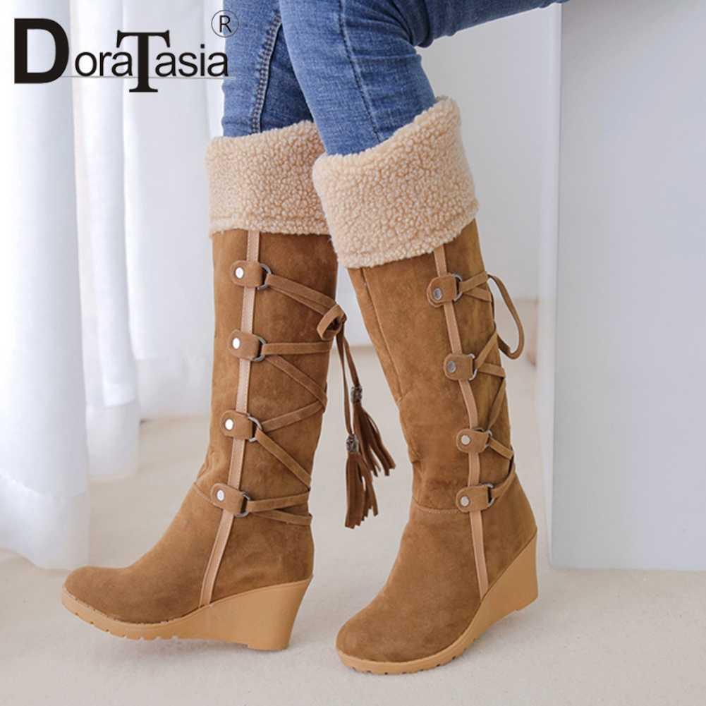 DoraTasia חדש נוח אמצע עגל מגפי גבירותיי תחרה עד Bowtie גבוהה טריזי נעלי אישה בתוספת גודל 34 -43
