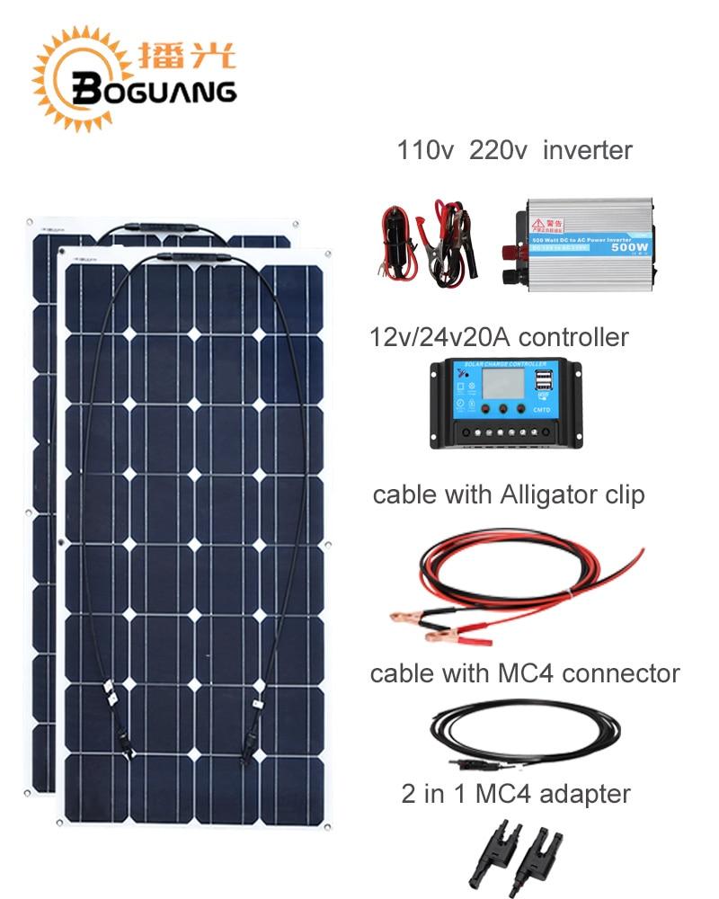 Boguang 100w solar panel cell module 200w DIY kit solar system 110v 220v 500w inverter 12v/24v/20A controller MC4 cable adapter high efficiency solar cell 100pcs grade a solar cell diy 100w solar panel solar generators