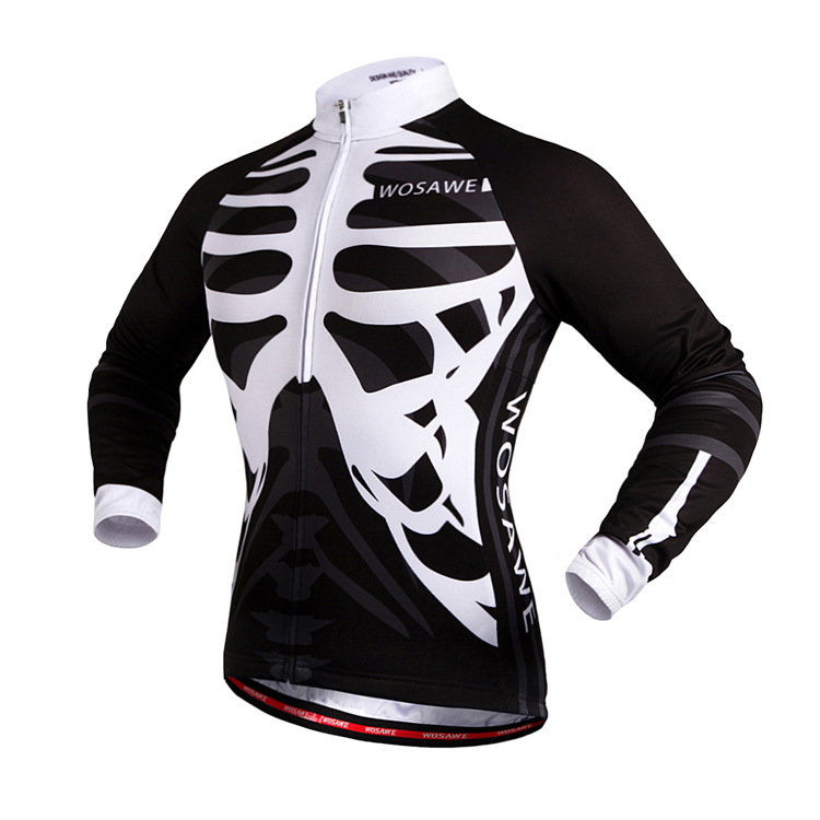 2017 New cycling jersey long sleeve-Skeleton breathable quick dry elastic biking clothes bicycle safe riding racing confortable
