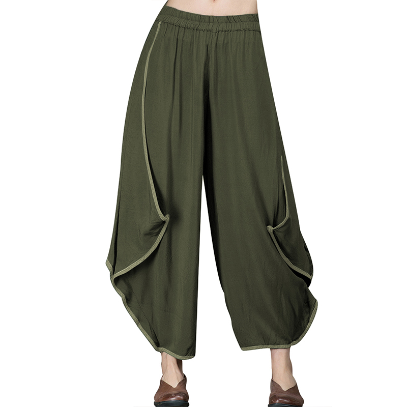 Women Irregular Side Ruffles   Wide     Leg     Pants   2019 Autumn Cotton Linen Harem Trousers Streetwear Elastic Waist Long Pantalon Femme