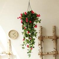 Dekoracyjne Sztuczne Rose Kwiaty Kosz Ślub Dekoracji Fałszywe Rośliny Kwiat Trawy Liści Artificials DIY Dekoracji Dla Domu