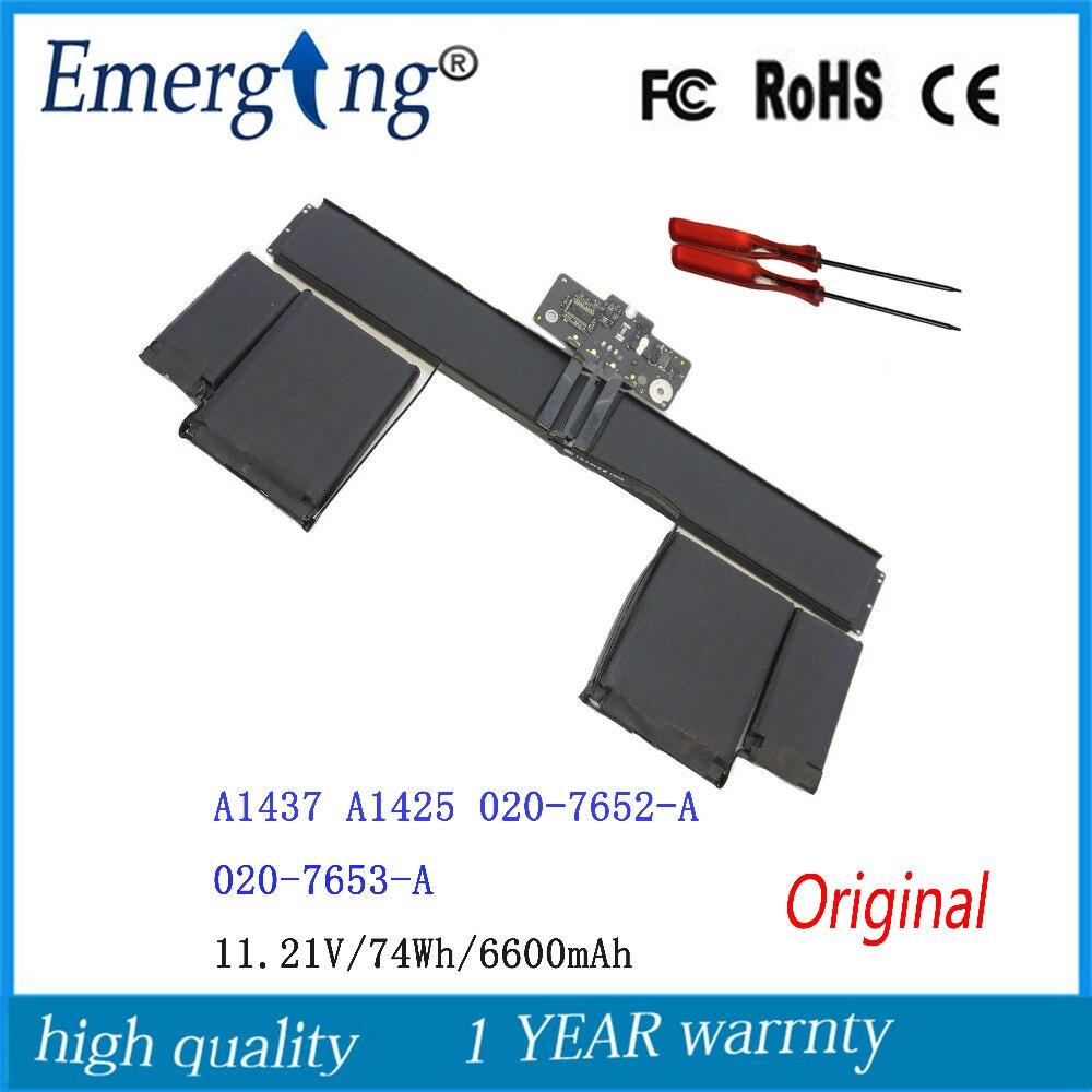 11.21 V 74Wh Nouvelle Batterie D'ordinateur Portable D'origine A1437 pour APPLE MacBook Pro13 Retina A1425 (fin 2012) 020-7653-A 6600 mah avec outils