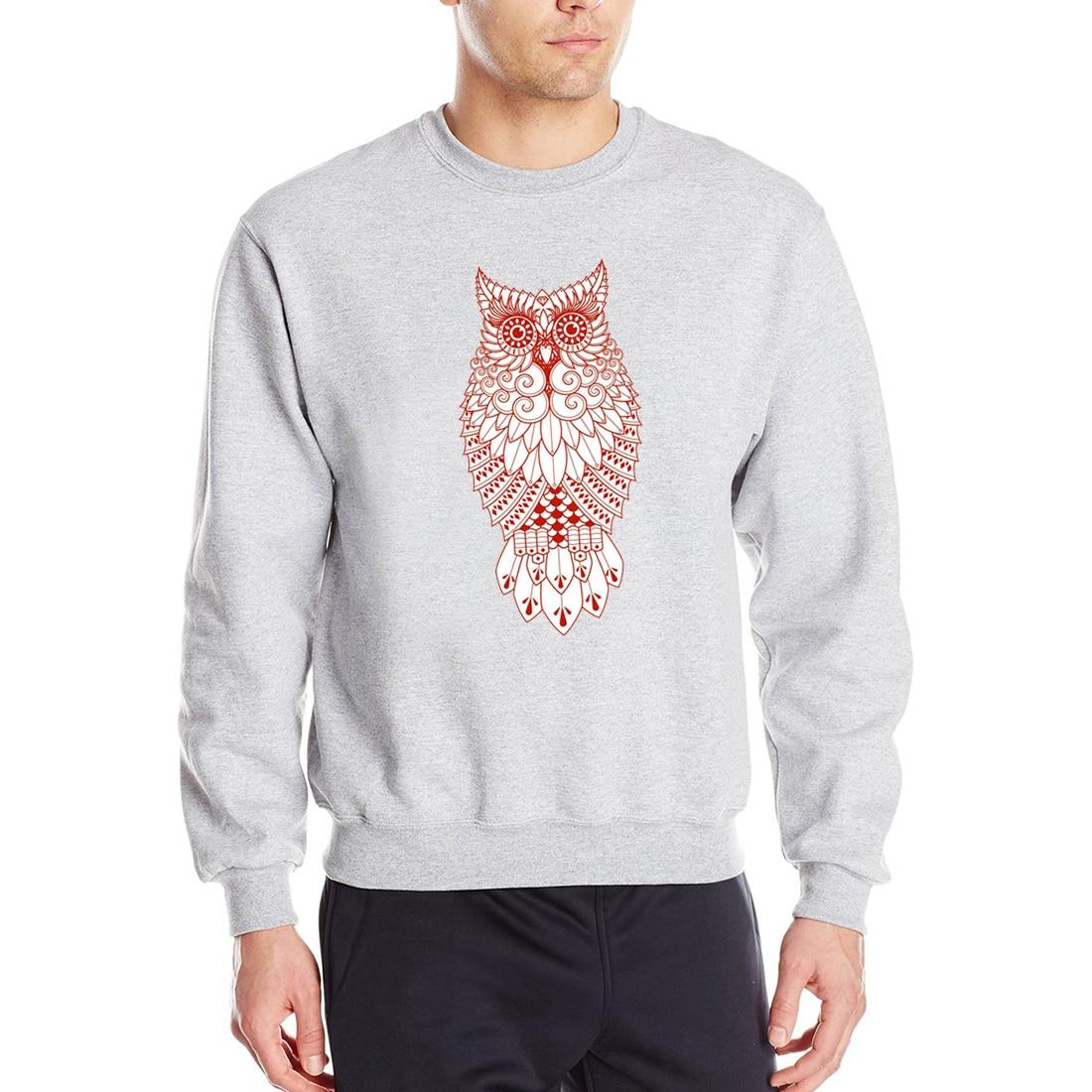 2019 Spring Autumn Animal Owl Sweatshirts Hoodies Men Casual Long Sleeve Hip Hop Pollovers Fleece Mens Brand Sweatshirt CM01