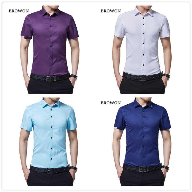 BROWON מותג גברים קיץ חולצה מזדמן משי חולצה תורו למטה צווארון קצר שרוול חולצה דק סגנון עסקי חולצה לגבר