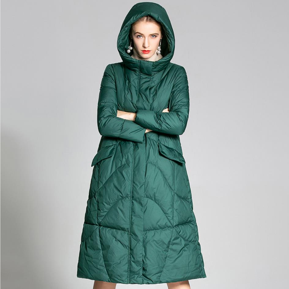 2019 Winter Women's   Down   Jacket Female Long   Coat   Ladies Fashion loose a-line Hooded duck   down     coat