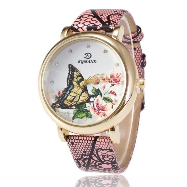 Relojes Mujer Women Girl Bracelet Watch Fashion Butterfly Pattern Leather Band A