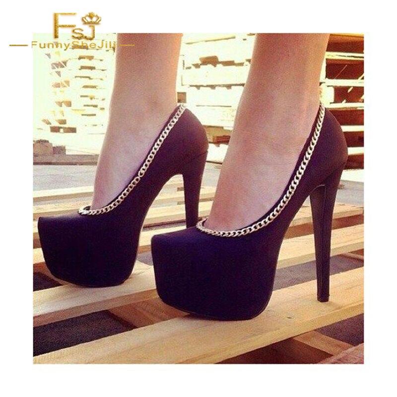 Fsj Métal Chaussures Printemps Fsj01 Talons Pompes Talon Shoe11 forme Grande En Taille Stiletto Automne 13 Dames Plate Femmes Noir Chaîne 2018 12 77wqC5rXx