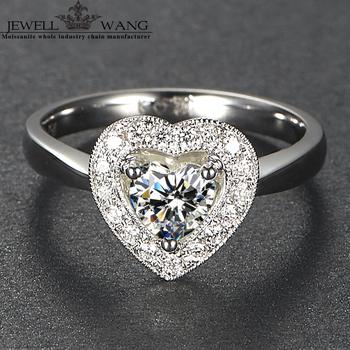 33faedd7d39a JEWELLWANG céltico anillo Deluxe 0.5ct certificado FG vvs1 anillos de compromiso  para mujer CORAZÓN DE LADO DE PIEDRA