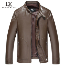 Dusen Klein New 2017 Men Genuine Leather Jacket Spring Outerwear Black/Slim/Simple Business Style/Sheepskin Coat 15Q1520