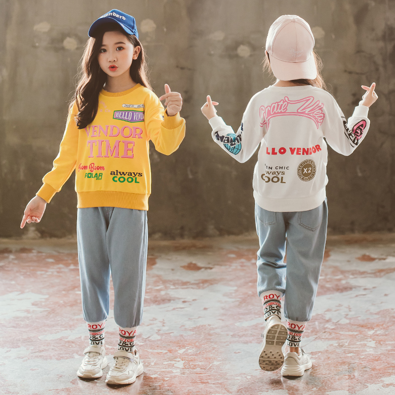 Girls Clothes Children Clothing Sets Girls Fall Outfits Kid Toddler Fashion Boutique Autumn Sweater + Jeans 3 to 13 Years