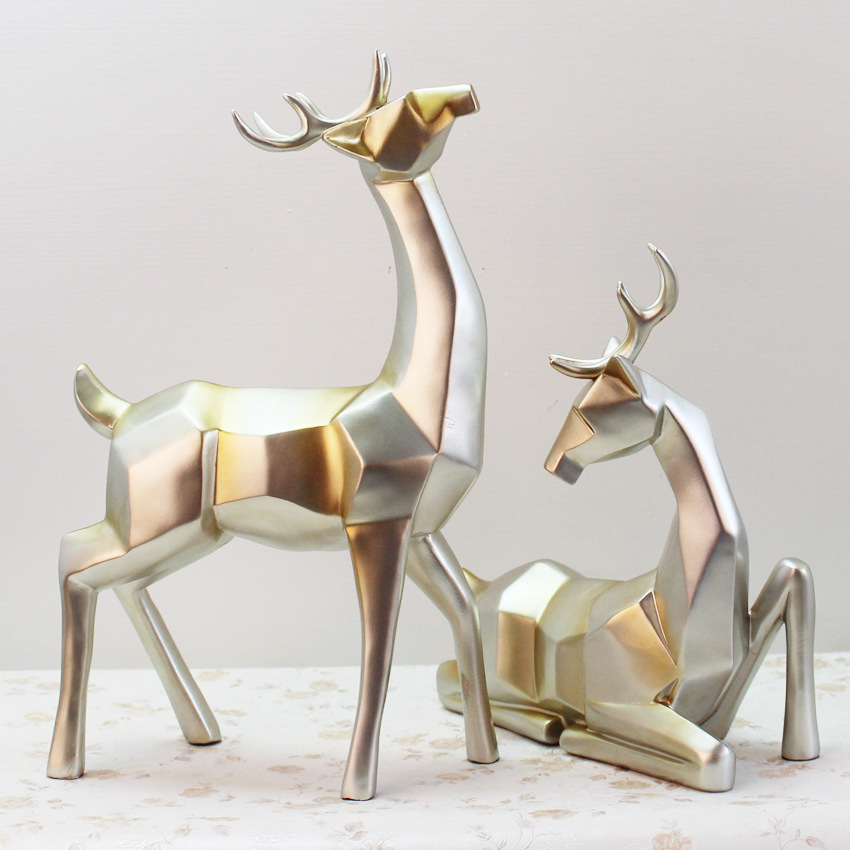 Home Furnishing European Wine Room Decoration Crafts Deer Sculpture Modern Minimalist Wedding Gift Home Decor Ornaments
