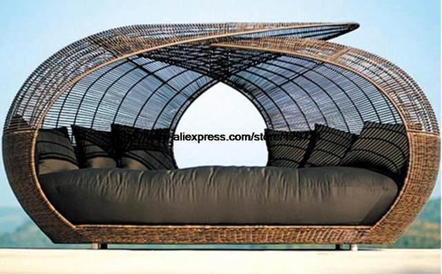 Ronda creativo Ratán Cama Acostado cama Silla de Salón Silla De Playa Piscina de Ocio Muebles de Jardín De Ratán Sofá Cama de Lujo