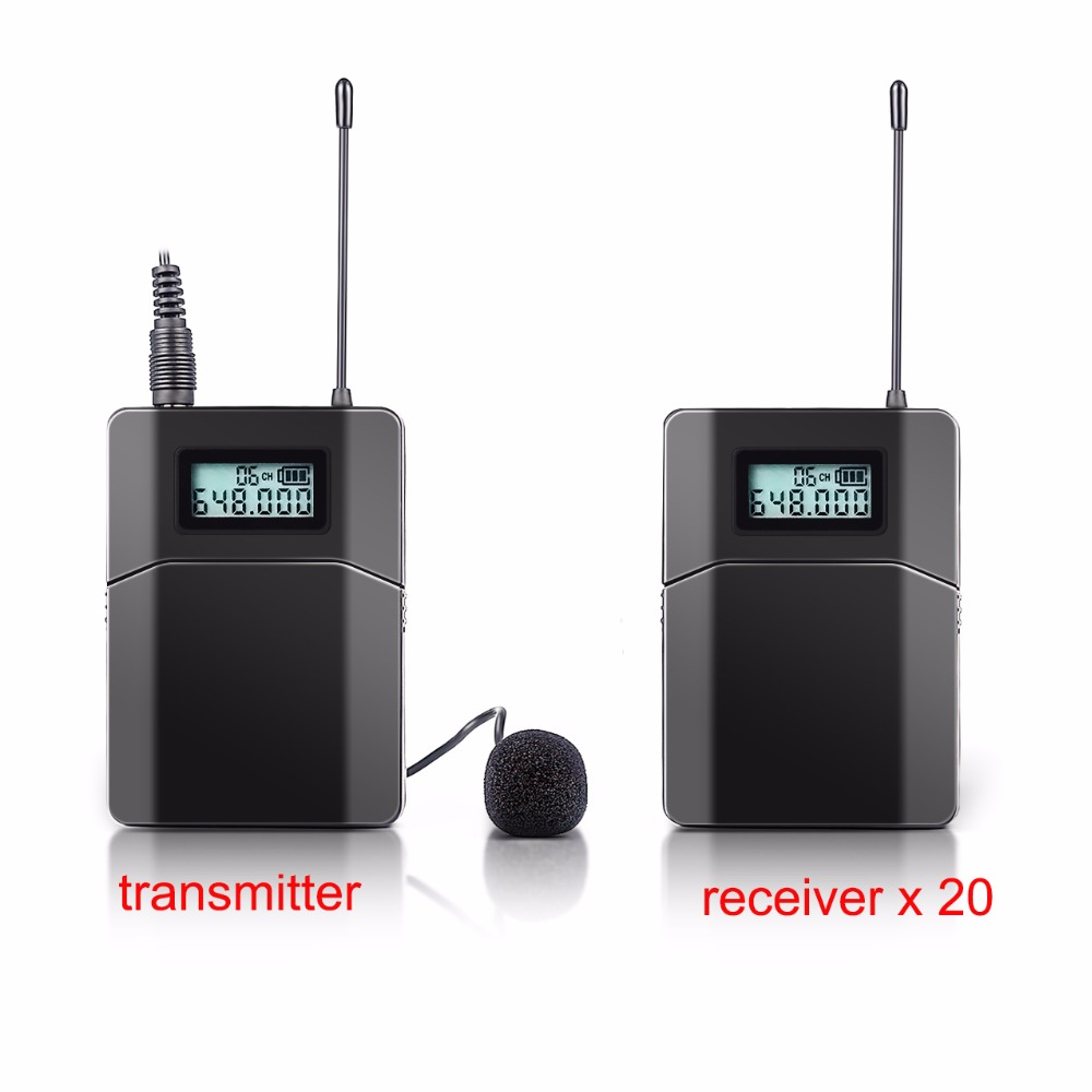 Professional UHF Wireless Tour Guide Translation System 1 Transmitter 20 Receivers for Teach Train Visit Tourism