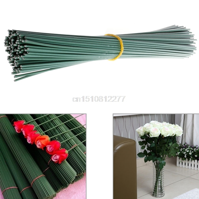 100Pcs Craft Flower Stem Wrap Dark Green 30cm Artificial Floral Wire ...