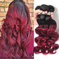 Bresiliennes Body Waves Burgundy Weave 4 Bundles Brazillian Body Wave Ombre Hair Bundles Wet And Wavy Human Hair 1B/Burgundy 99j