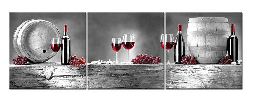 3 pieces modern canvas painting wall art red grape wine barrel bottle goblet wine print on