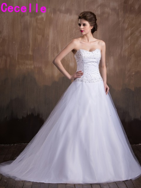 Sparkle A line Beaded Crystals Wedding Dresses Chic Sweetheart Puffy ...