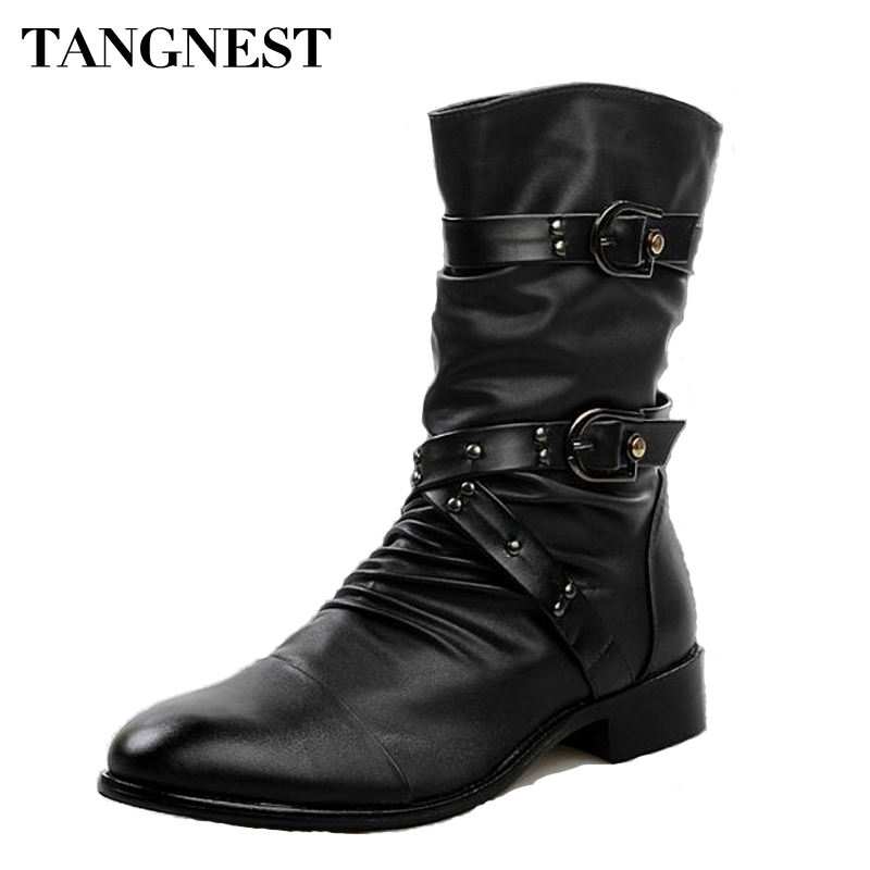 Tangnest/2017 мужские Ботинки martin из искусственной кожи, мужская обувь с заклепками, ботинки до середины икры, мужские ботинки на низком каблуке, р...