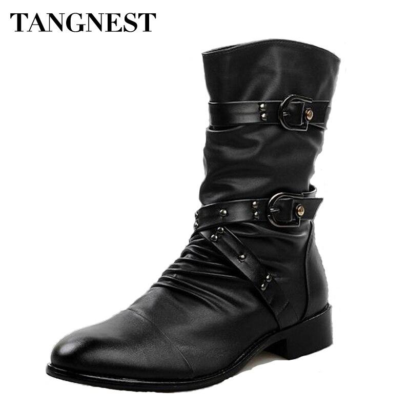 Tangnest 2017 Men Martin Boots Pu Leather Men Rivet Shoes Mid-Calf Boots Male Low Heels Men Boots Size 37-44 XMX502