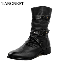 Tangnest 2017 Men Boots Pu Leather Men Rivet Shoes Mid-Calf Boots Male Low Heels Men Boots Size 37-44 XMX502