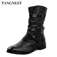 Tangnest 2017 Men Boots Pu Leather Men Rivet Shoes Mid Calf Boots Male Low Heels Men Boots Size 37 44 XMX502