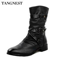Tangnest 2017 Men Boots Pu Leather Men Rivet Shoes Mid Calf Boots Male Low Heels Men Boots Size 37 44 XMX502