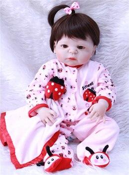 23inch Full silicone reborn baby dolls Toy Baby-Reborn lifelike modeling vinyl newborn bathe princess toddler Brinquedos toy