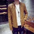 New 2016 male water wash PU leather jacket button decorative slim fit bomber jacket men chaquetas plus size m-6xl 3-colors
