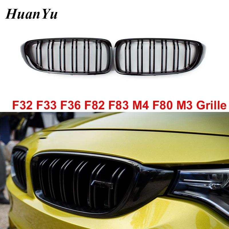 1 paire à 2 Lamelles Calandre Réniforme pour BMW Série 4 F32 F33 F36 F80 M3 F82 M3 F83 M4 ABS Pare-chocs avant de Rechange Course Grill 440i 435i