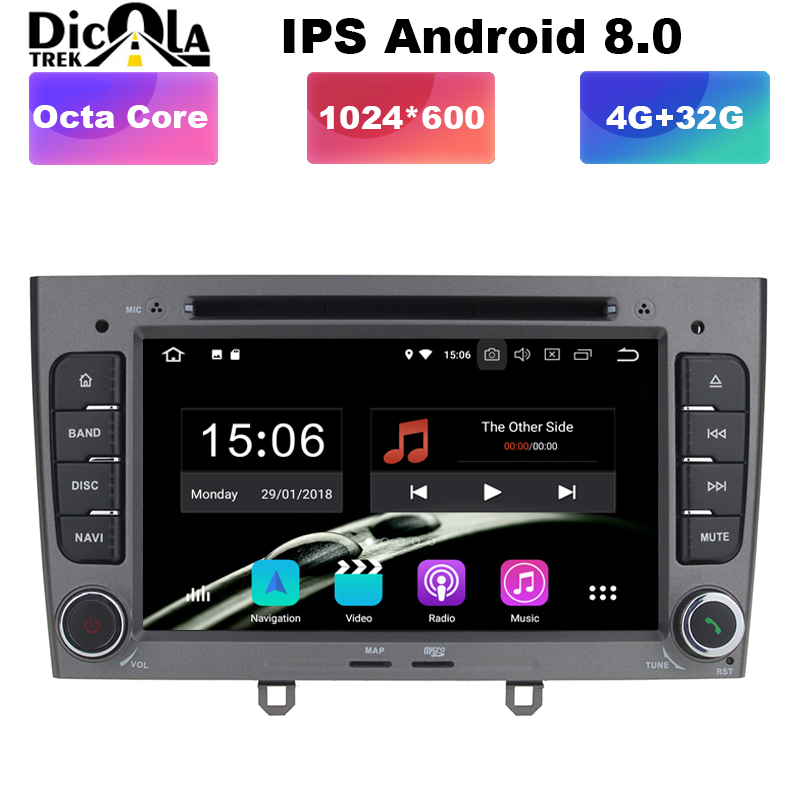 4GB RAM Octa Core <font><b>Android</b></font> <font><b>8.0</b></font> Multimedia Car DVD Navigation For <font><b>peugeot</b></font> 408/<font><b>308</b></font>/308SW Autoradio Stereo headunit support OBD DVR image
