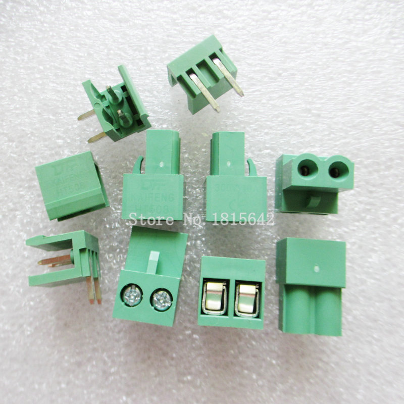 10sets Ht5.08 2pin Right Angle HT508-2P Terminal Plug Type 300V 10A 5.08mm Pitch Connector Pcb Screw Terminal Block Connector