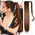 Прямо Долго Обернутые Вокруг Гладкий Высокий Человеческий Хвост 100% Бразильский Реальные Человеческие Волос шнурок хвостики волос