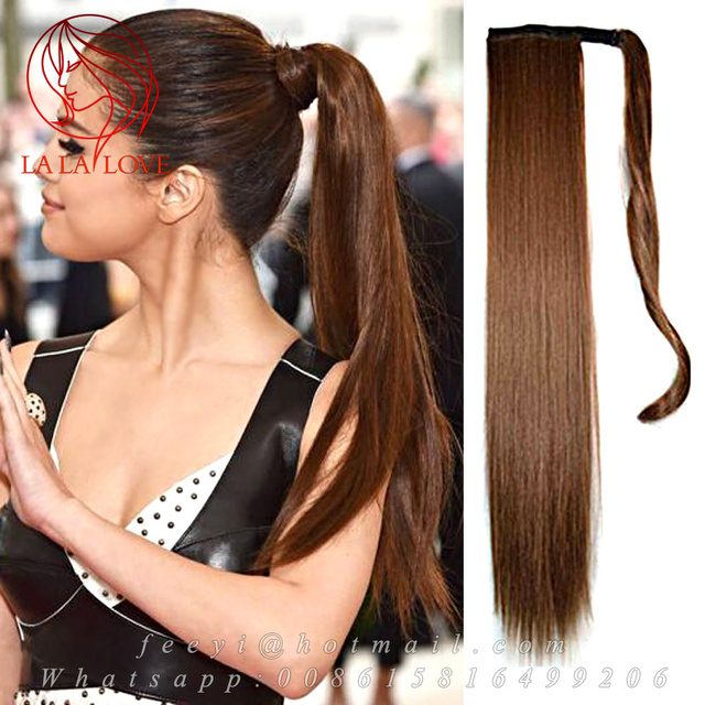 Straight Long Wrapped Around Sleek High Human Ponytail 100 Brazilian Real Hair Clip Drawstring