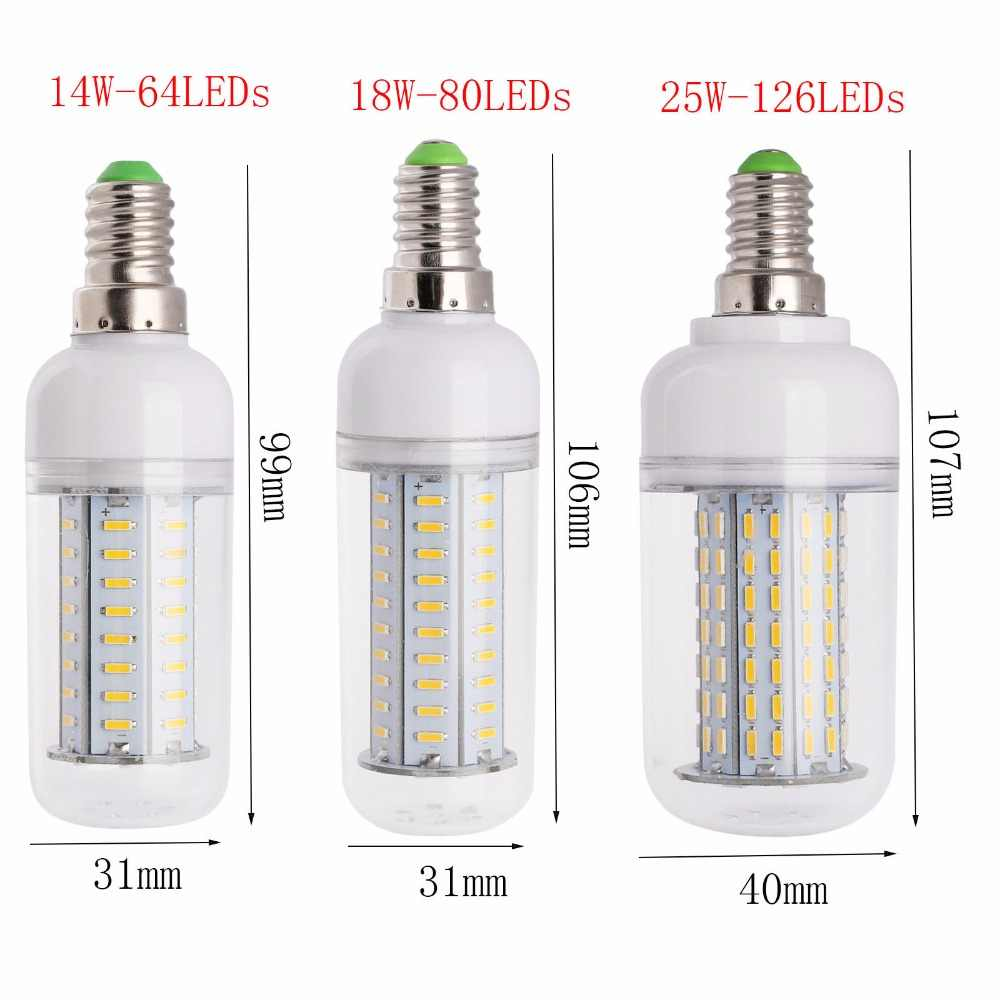 New Dimmable LED Corn Bulb 4014 SMD 14W 18W 25W LED Spotlight E27 E26 E12 E14 B22 GU10 G9 110V 220V Warm/Cold White Led Lamps