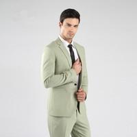 Slim Fit Groomsmen Notch Lapel Groom Tuxedos One Button Mens Suits Wedding Best Man (Jacket+Pants+Tie+Hankerchief) B755