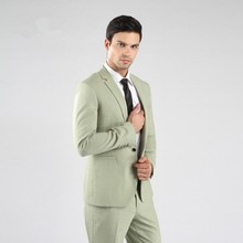 Slim Fit Groomsmen Notch Lapel Groom Tuxedos One Button Mens Suits Wedding Best Man (Jacket+Pants+Tie+Hankerchief) B755