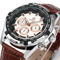 Fashion Look Leather Band Japan Movements High Quality Men Watches