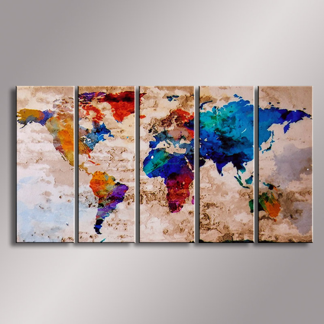 Weltkarte malerei Ölgemälde 100% Handgemalte Moderne Wandkunst ...