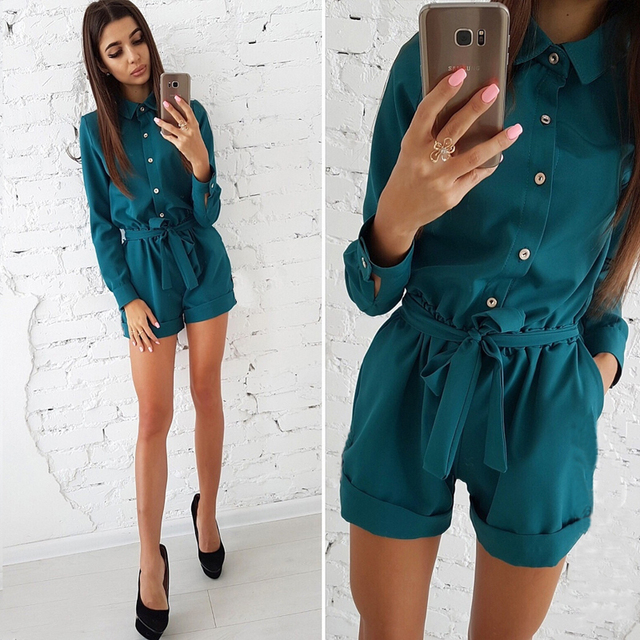 2018 Autumn New Fashion Women's Shirts Playsuits Casual Long Sleeve Buttons Slim Rompers Elegant Belts Jumpsuits Overalls