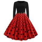 Polka Dot Print Big Swing Midi Dress New Women Vintage Ladies O Neck Long Sleeve Elegant Party Dress Christmas Dress With Belt