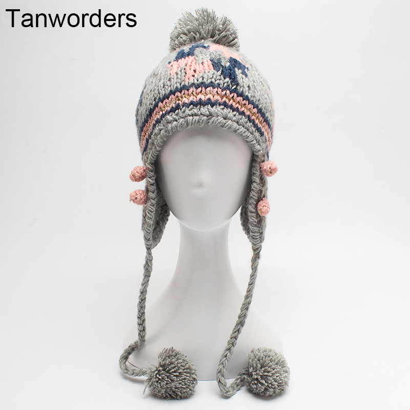 2017 Autumn Winter Knitted Beanies Hats For Women Pom Poms Ear Protect Winter Hat Girls Skullies Cap Female Gorras skullies hot sale female tide leather braids knitted cap autumn and winter women s curling ear warmers headgear 1866784