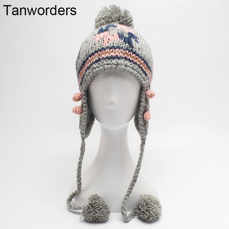 2017 Autumn Winter Knitted Beanies Hats For Women Pom Poms Ear Protect Winter Hat Girls Skullies Cap Female Gorras