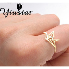 Yiustar New Fashion Hot Populai Origami Crane ring for Women JZ252(China)